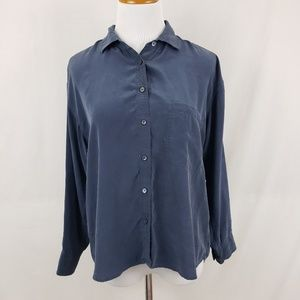 Equipment Navy Blue Silk Button Up Blouse sz Small